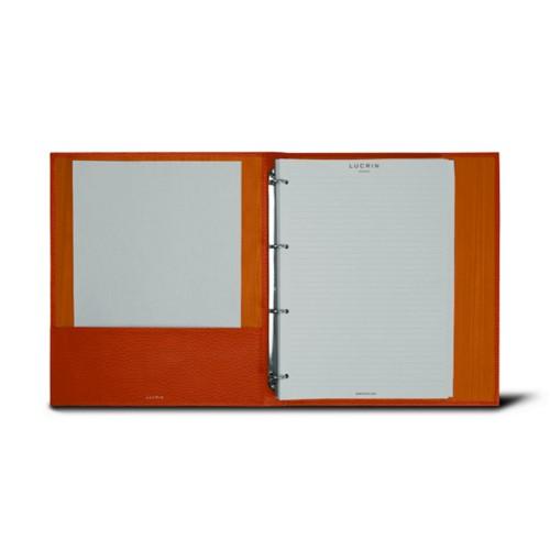 Classeur A4 - 4 Anneaux (100 feuilles) - Orange - Cuir Grainé