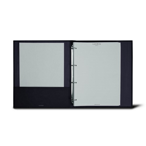 A4 ring binder - 4 rings (100 sheets) - Navy Blue - Bonded Leather