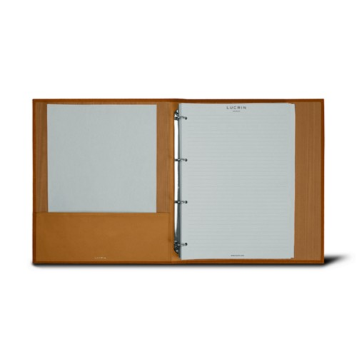 A4 ring binder - 4 rings (100 sheets) - Natural - Bonded Leather