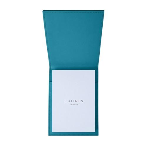 Porte-bloc A6 - Turquoise - Cuir Lisse
