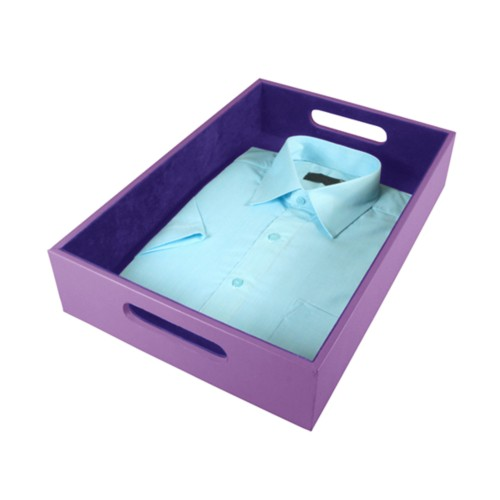 Storage Tray (44 x 30 x 9 cm) - Lavender - Smooth Leather