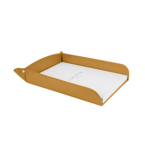 A4 paper tray - Mustard Yellow - Smooth Leather