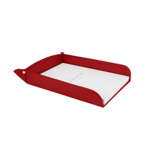 A4 paper tray - Red - Smooth Leather