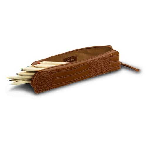 Astuccio per matite - Camello - Pelle imitazione coccodrillo