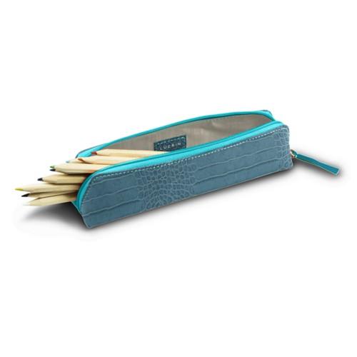 Astuccio per matite - Turchese - Pelle imitazione coccodrillo