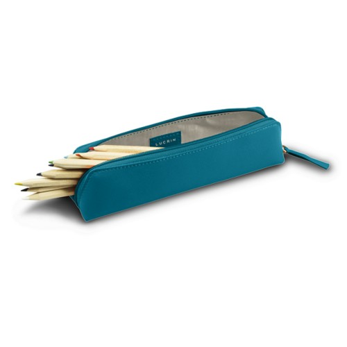 Estuche para lápices - Azul turqués - Piel Liso