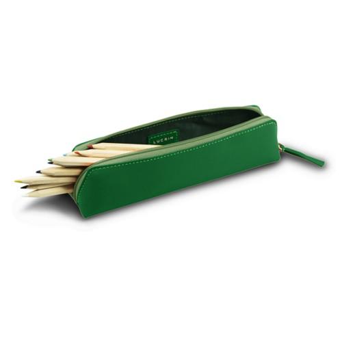 Estuche para lápices - Verde claro - Piel Liso
