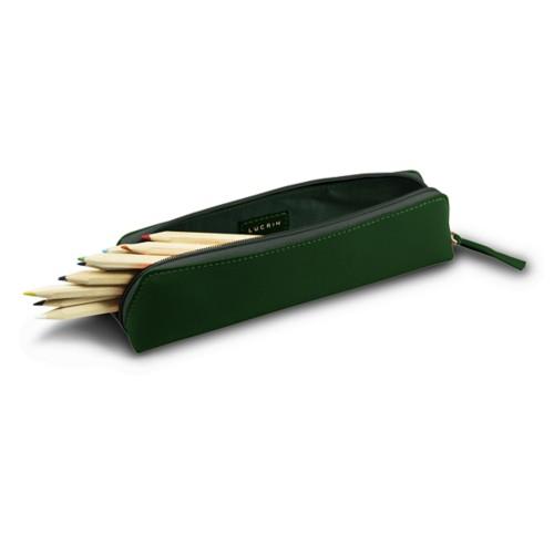 Astuccio per matite - Verde scuro - Pelle Liscia