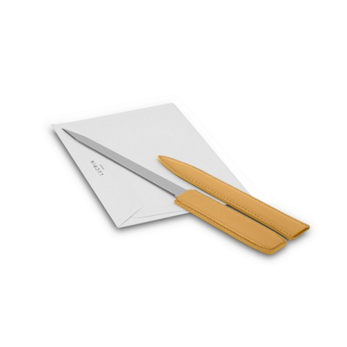 Letter opener - Mustard Yellow - Smooth Leather