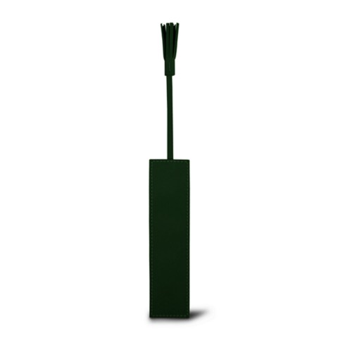 Bookmark with Tassel - Dark Green - Smooth Leather