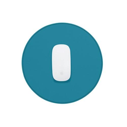 Ronde muismat - Turquoise - Soepel Leer