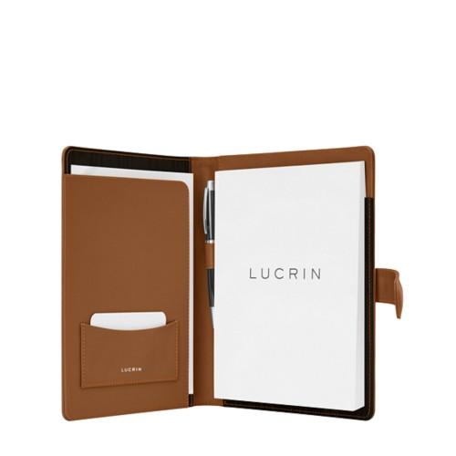 Porte bloc A5 avec languette - Cognac - Cuir Lisse