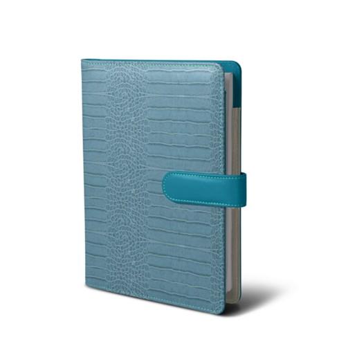 A5 portfolio - Turquoise - Crocodile style calfskin