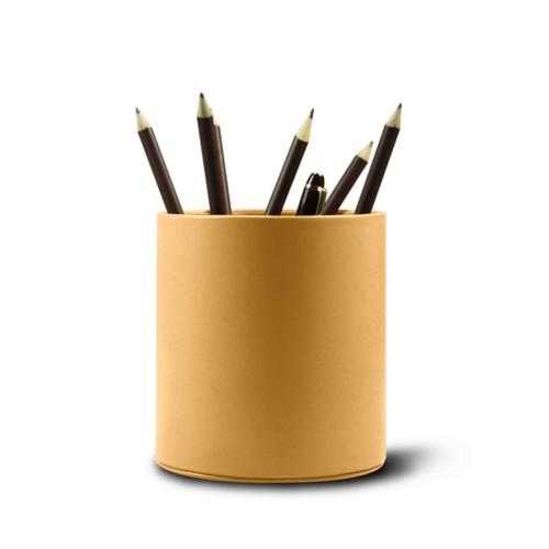 Grande portapenne tondo - Amarelo Mostarda - Pelle Liscia