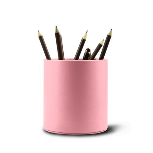 Grande portapenne tondo - Rosa - Pelle Liscia