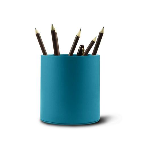 Grande portalápices redondo - Azul turqués - Piel Liso