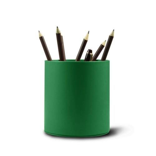 Grande portapenne tondo - Verde chiaro - Pelle Liscia