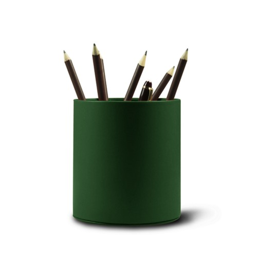Grande portapenne tondo - Verde scuro - Pelle Liscia