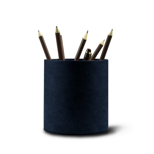 Grande portapenne tondo - Blu Navy - Pelle conciata al vegetale