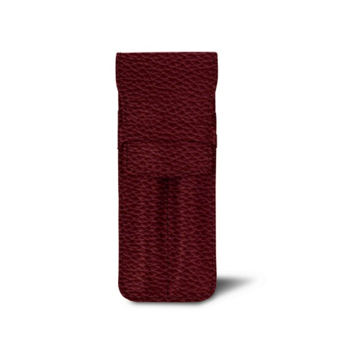 Custodia con tasca per 2 penne - Bordeaux - Pelle Ruvida