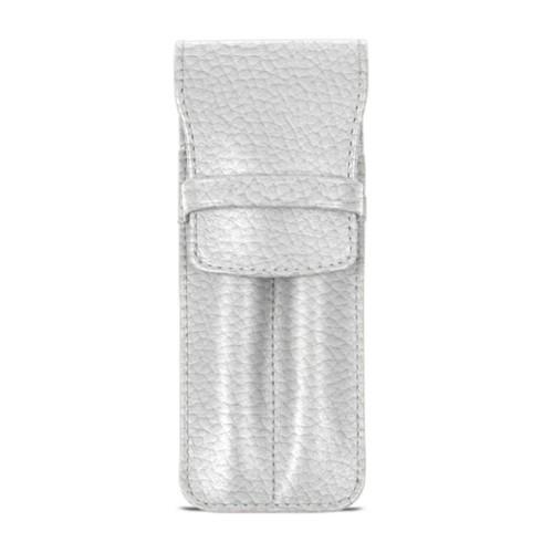 Custodia con tasca per 2 penne - Bianco - Pelle Ruvida