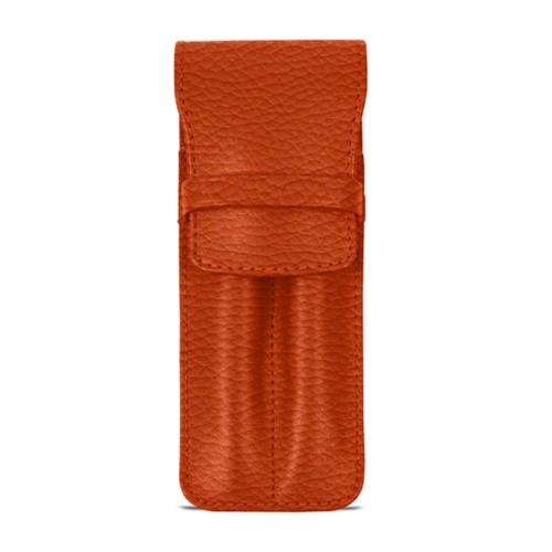 Custodia con tasca per 2 penne - Arancione - Pelle Ruvida