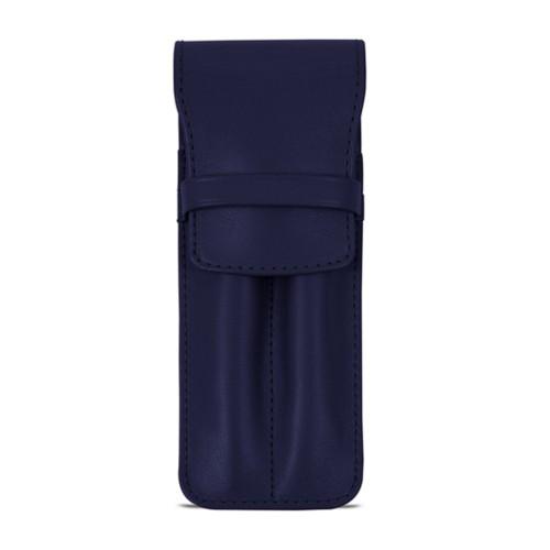 Custodia con tasca per 2 penne - Blu  - Pelle Liscia