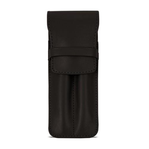 Custodia con tasca per 2 penne - Marrone Scuro - Pelle Liscia