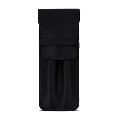 Custodia con tasca per 2 penne - Nero - Pelle Liscia