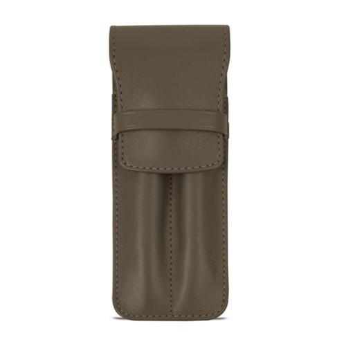 Custodia con tasca per 2 penne - Taupe scuro - Pelle Liscia