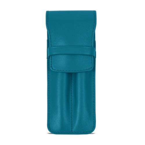 Estuche con solapa para 2 bolígrafos - Azul turqués - Piel Liso
