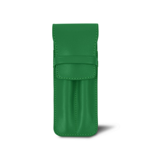 Estuche con solapa para 2 bolígrafos - Verde claro - Piel Liso