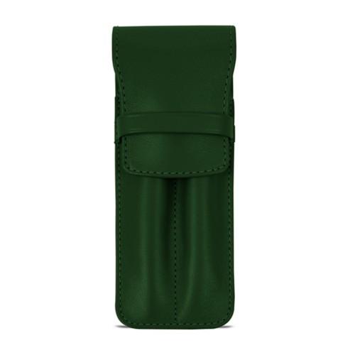 Custodia con tasca per 2 penne - Verde scuro - Pelle Liscia