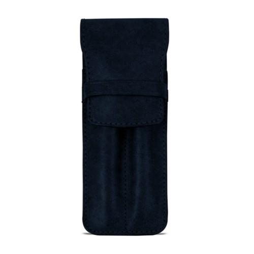 Custodia con tasca per 2 penne - Blu Navy - Pelle conciata al vegetale