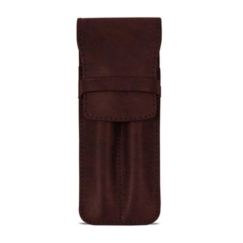 Custodia con tasca per 2 penne - Marrone Scuro - Pelle conciata al vegetale