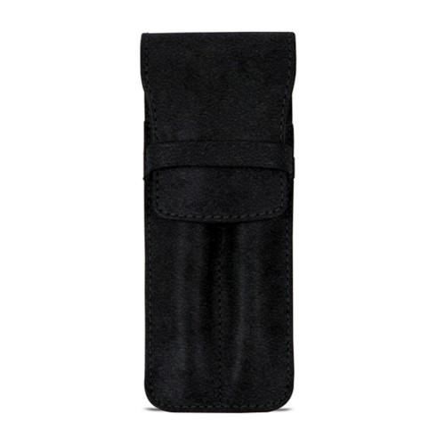 Custodia con tasca per 2 penne - Nero - Pelle conciata al vegetale