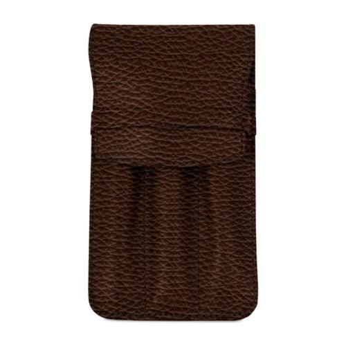 Custodia per 3 penne - Marrone Scuro - Pelle Ruvida