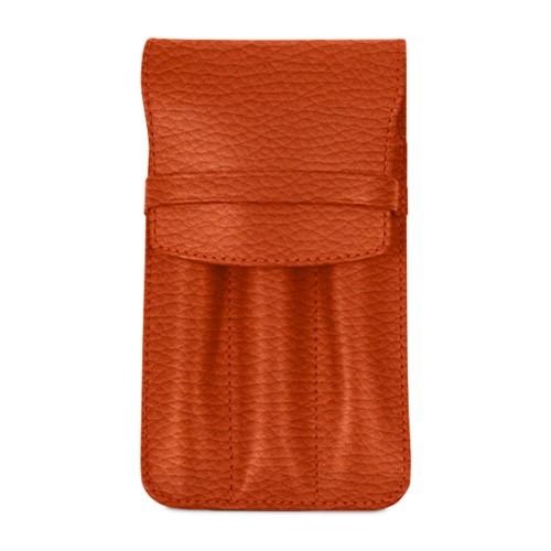 Custodia per 3 penne - Arancione - Pelle Ruvida