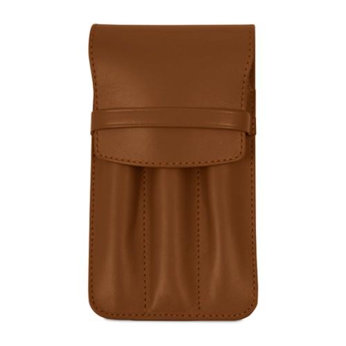Custodia per 3 penne - Cognac - Pelle Liscia
