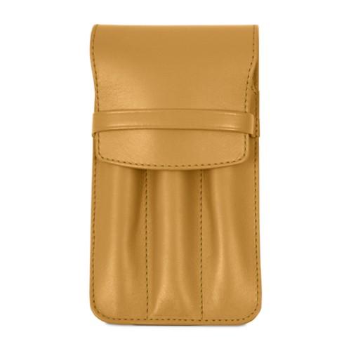 Custodia per 3 penne - Amarelo Mostarda - Pelle Liscia