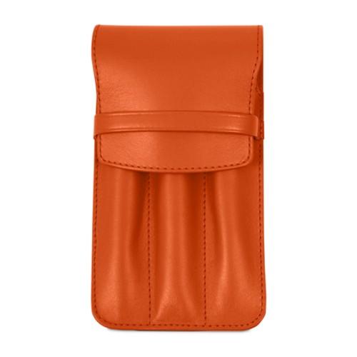 Custodia per 3 penne - Arancione - Pelle Liscia