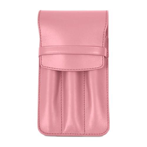 Custodia per 3 penne - Rosa - Pelle Liscia
