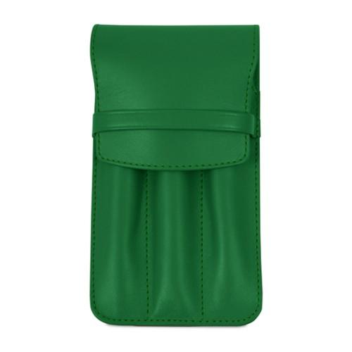 Estuche para 3 bolígrafos - Verde claro - Piel Liso