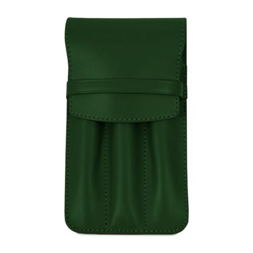 Custodia per 3 penne - Verde scuro - Pelle Liscia