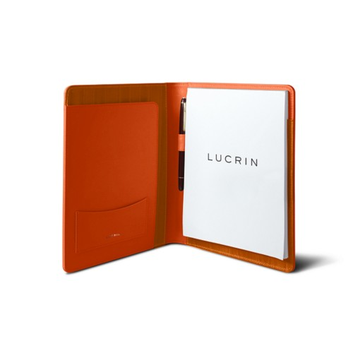 Porte document A5 - Orange - Cuir Lisse