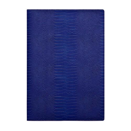 A4 Notebook cover - Royal Blue - Crocodile style calfskin
