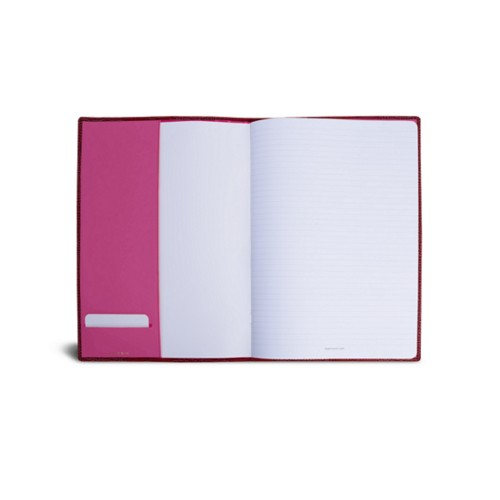 Couverture cahier A4 - Fuchsia  - Veau Façon Crocodile