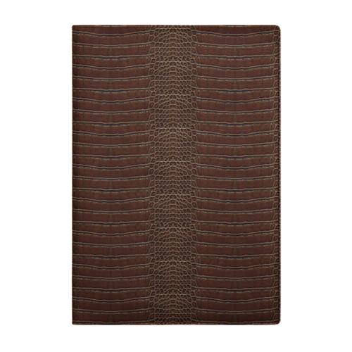 A4 Notebook cover - Dark Brown - Crocodile style calfskin