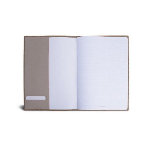 A4 Notebook cover - Light Taupe - Crocodile style calfskin