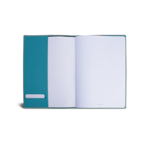 A4 Notebook cover - Turquoise - Crocodile style calfskin